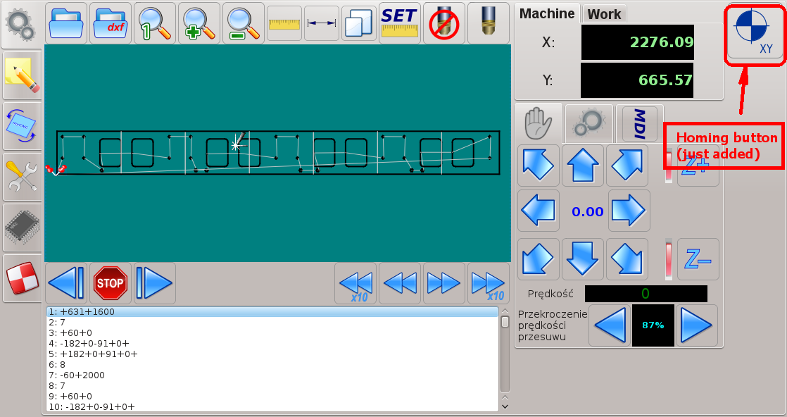 CNC control software - Homing button