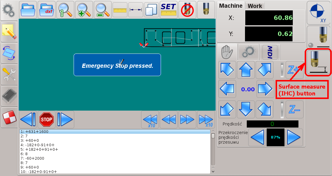 CNC control software - IHC button