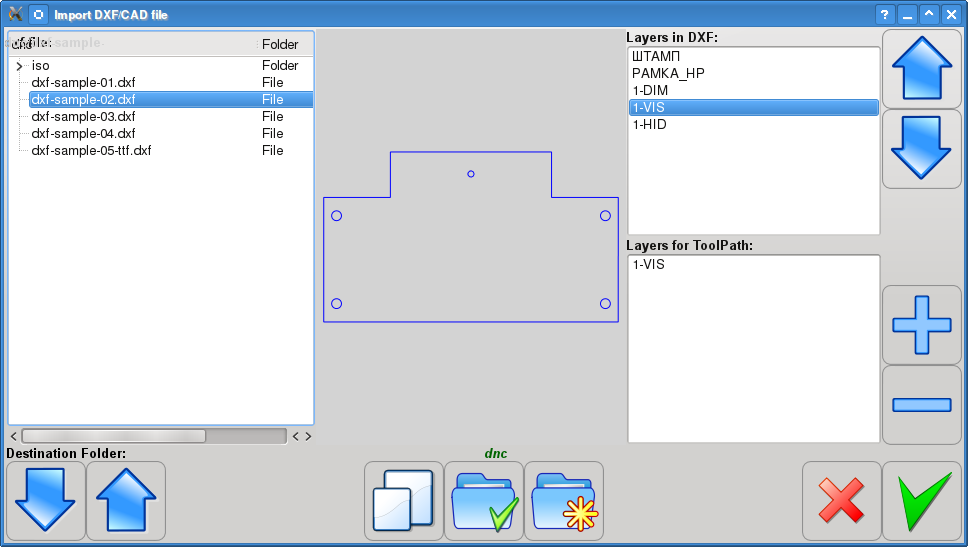myCNC software DXF import dialog