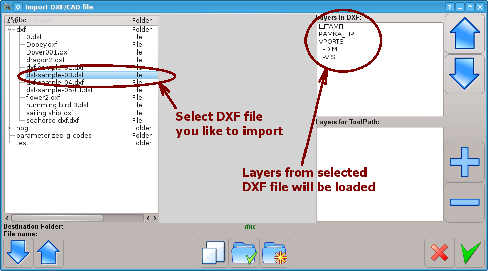 DXF file layers