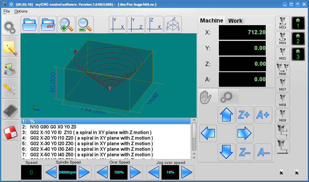 myCNC control software screenshot ver 1.49