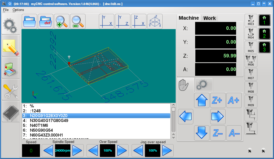 dimension lines for 3D visu\alisation in myCNC software