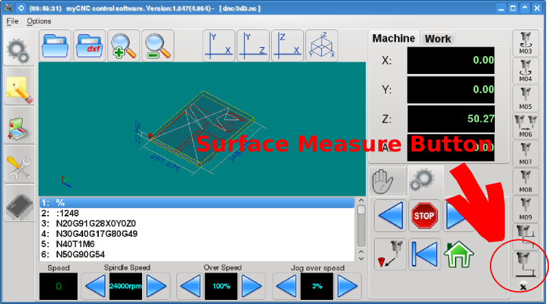 surface measure on-screen button